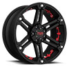 TSW T01 Alloy Wheels Flat Black w/ Red Inserts
