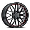 TSW Overdrive Alloy Wheels Gloss Black w/ Red Inner Lip