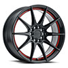 TSW Speedster Alloy Wheels Gloss Black w/ Red Stripe